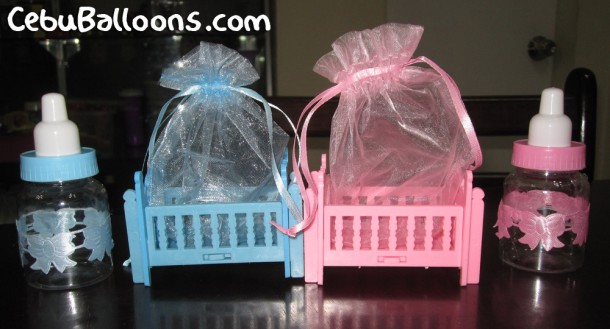 Crib & Feeding Bottle Giveaways (Light Blue & Pink)