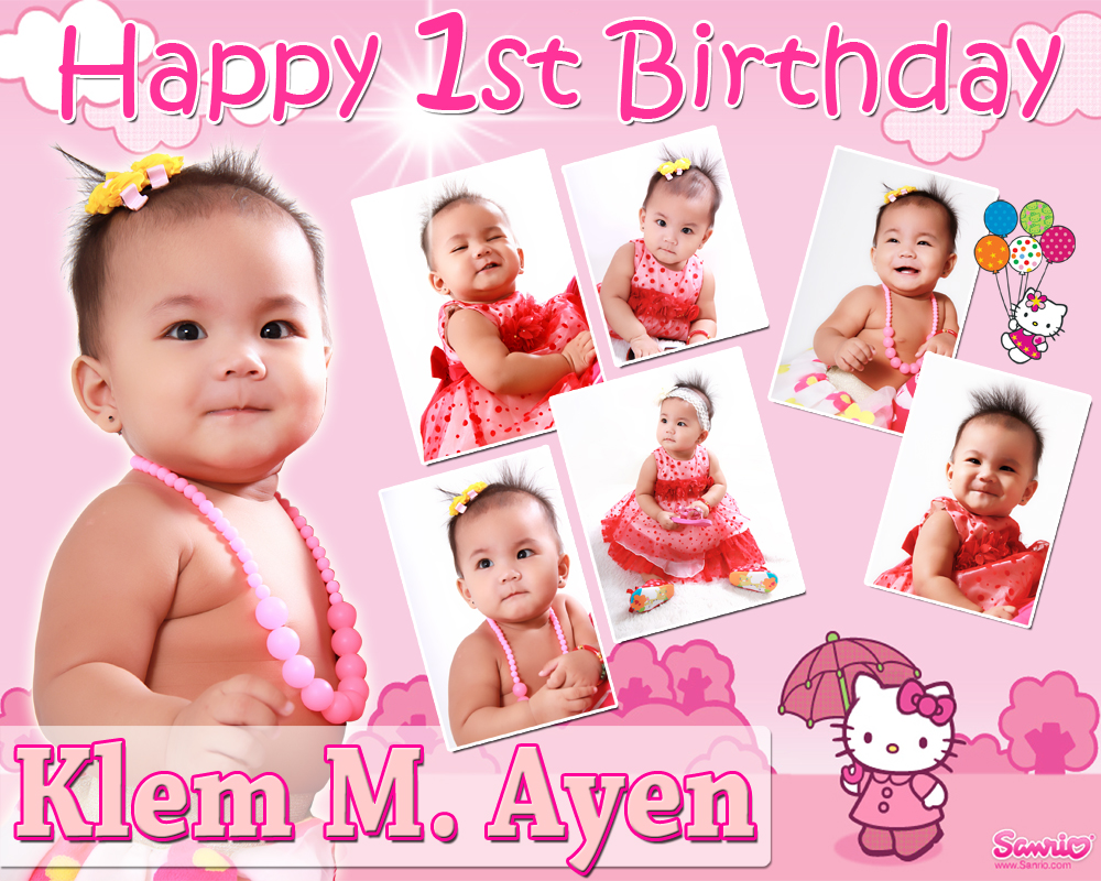 Klem Ayens 1st Birthday Tarp Layout Hello Kitty